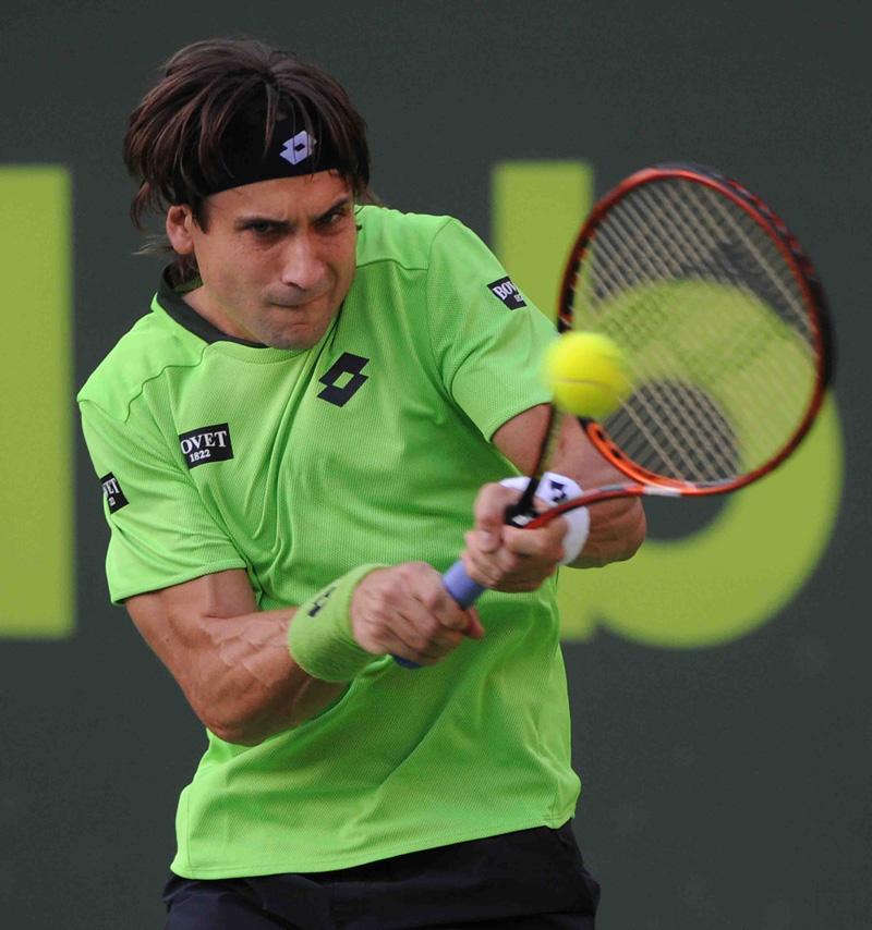 Ferrer en un momento de su partido Doha 2014 01 b