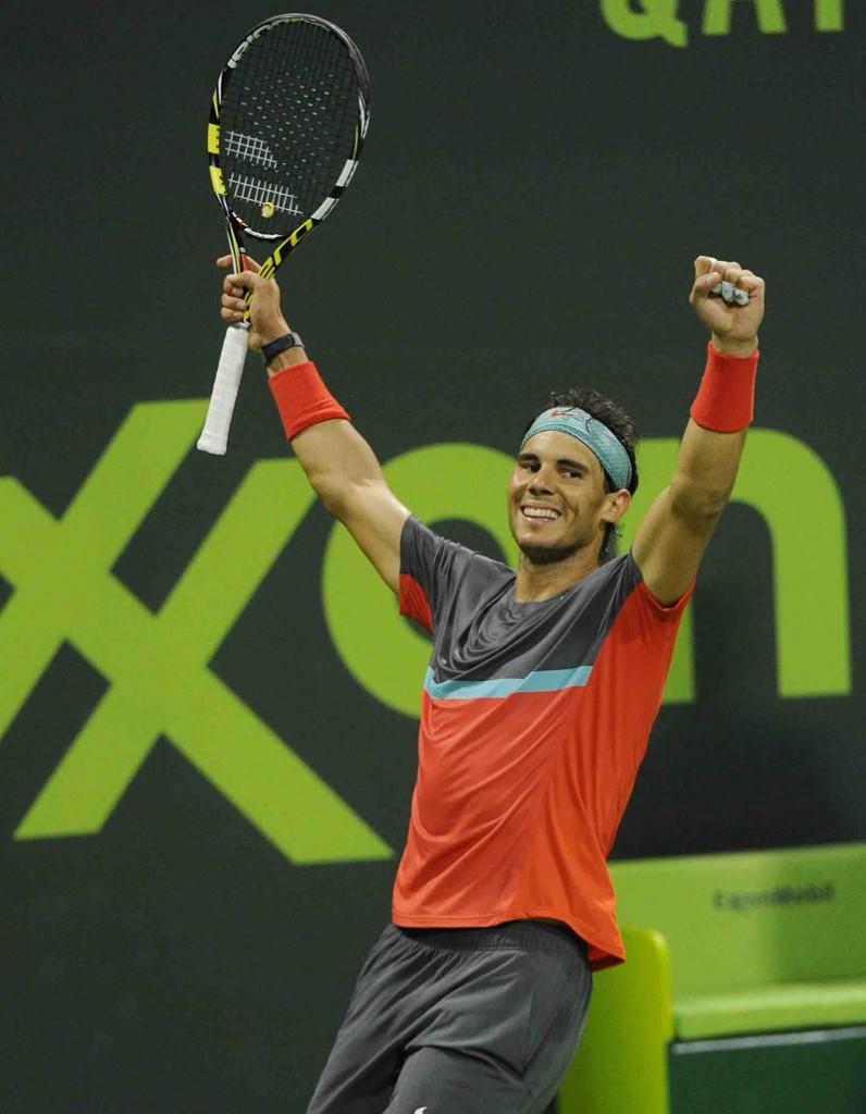 Nadal alegria final en Doha 2014 b