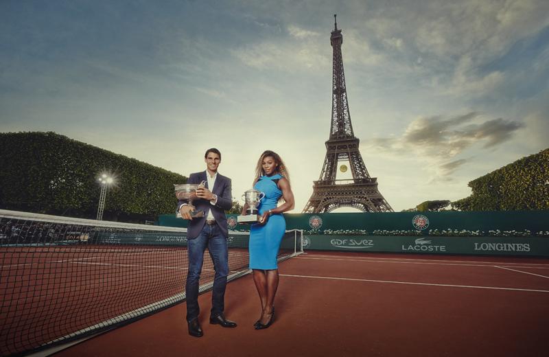 Foto de Rafael Nadal y Serena Williams con la torre Eiffel de fondo