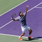 MIAMI, FLORIDA, SONY OPEN 21MAR2014, ROGER FEDERER AND HIS SHADOW SERVE