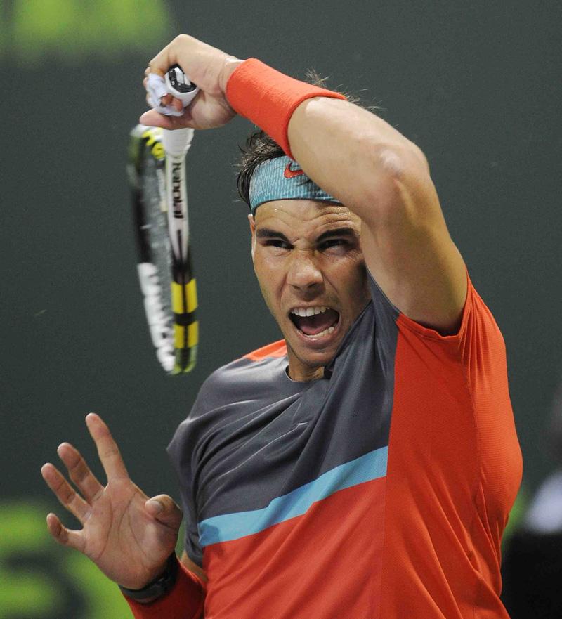 Nadal y un golpe t°pico Doha 2014 01 b